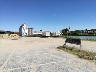 Freifläche am Dortmund-Ems-Kanal an der Einfahrt in den Hafen von Münster in Westfalen
