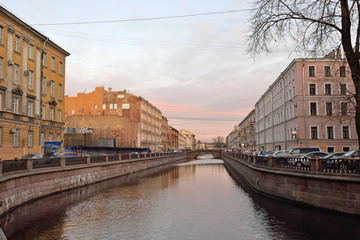 The canal during a pink sunset in St. Petersburg