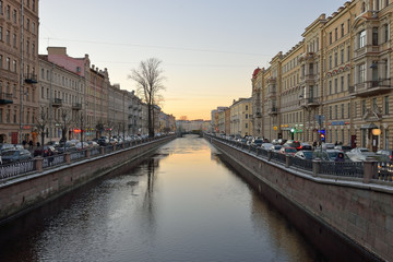 The canal at sunset on a winter evening