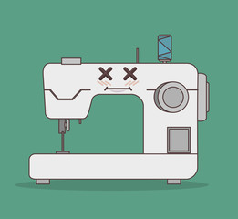 sewing machine character icon vector illustration graphic