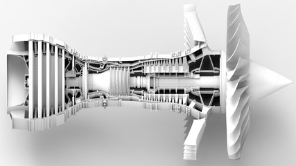 Jet engine. 3D illustration. 3D CG. High resolution.