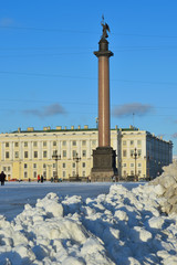 The snow on Palace square on a Sunny day
