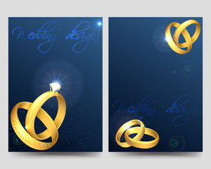 Wedding brochure flyer template with golden rings and glitters vector