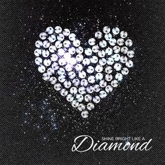 Heart Brilliant stones on black Denim Texture. Silver applique. Beautiful jewelry brooch with rhinestones. Ornament crystal precious, beadwork, embroidery. Fashion decor print