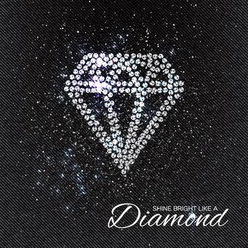 Brilliant stones diamond pattern on black Denim Texture. Beautiful jewelry brooch. Ornament crystal precious, silver applique rhinestones, beadwork, embroidery. Fashion decor print.