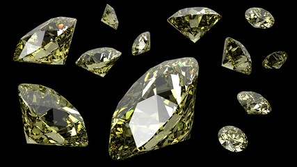 Diamonds. 3D illustration. 3D CG. High resolution.