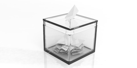 Glass ballot box on white background. 3d illustration