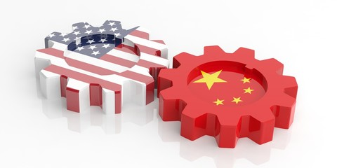 Gears with China and USA flags. 3d illustration