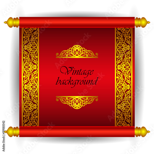 Vector scroll banner in royal luxury moroccan arabic style golden vector scroll banner in royal luxury moroccan arabic style golden ribbon floral pattern on a stopboris Image collections
