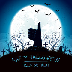 Blue Halloween background with thumb up on cemetery