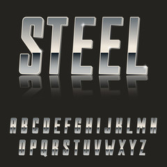 Steel, Modern 3d font made of Metal / latin font, metal typeface / realistic letters /