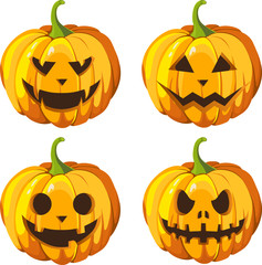 Halloween pumpkin set 4 with different expressions