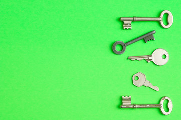 A border of keys displayed on a green background