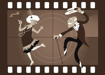 Wall Mural - Cartoon elderly couple dancing the Charleston in an old movie frame, EPS 8 vector illustration