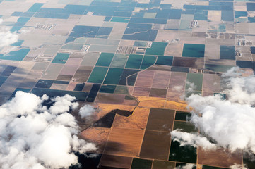 Foto op Textielframe Luchtfoto aerial view of farm field in California