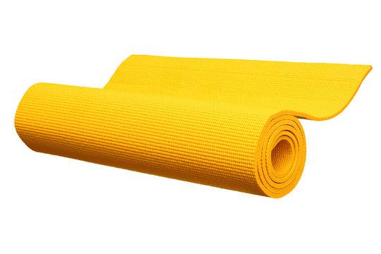 Yellow yoga mat isolated on white