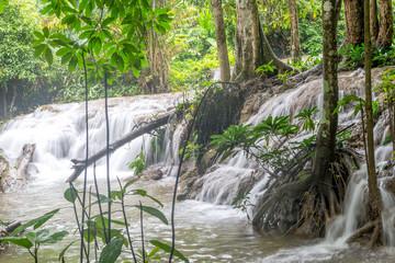 Wall Murals Waterfalls Waterfall and forest at Kanjanaburi, Thailand Aug 2016