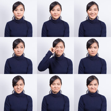Collage of woman different emotion