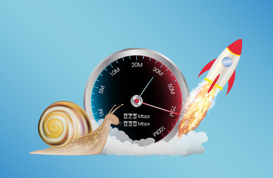 internet speed meter with rocket and snail