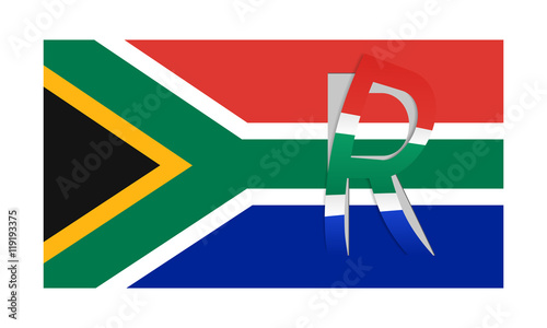 Flag Of South Africa With Peeled Currency Rand Symbol Stock Image