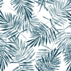 Palm leaves. Watercolor seamless  pattern. Hand drawn floral background