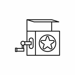 Jack in the box toy icon in outline style on a white background