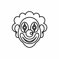 Clown icon in outline style on a white background
