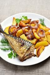 Fried mackerel fish and potato