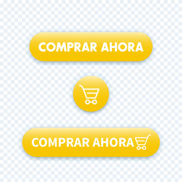 buy now in spanish, yellow buttons for web, vector illustration