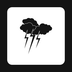 Clouds and lightning icon in simple style isolated on white background. Weather symbol