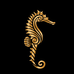 golden styled seahorse