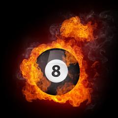 Staande foto Vlam Pool Billiards Ball