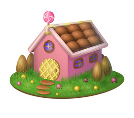 Sweet candy house - isolated object. Pink house on a candy meadow with almond fence