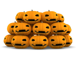 3Dイラストレーション ハロウィンかぼちゃ 群