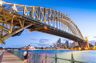 Skyward night view of Sydney Harbour Bridge
