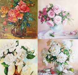 drawing oil, flowers, still life, painting, roses, 4 in1