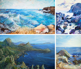 oil painting, seascape, waves, sea 4 in 1