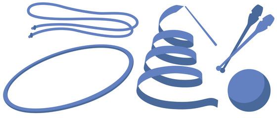 新体操の手具のイラスト(リボン・ロープ・フープ・クラブ・ボール)