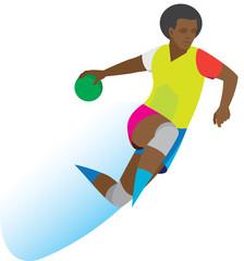African American handball player throws a ball in a jump