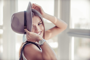 Beautiful boho woman in the wool hat