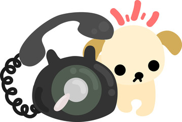 The cute dog and a telephone