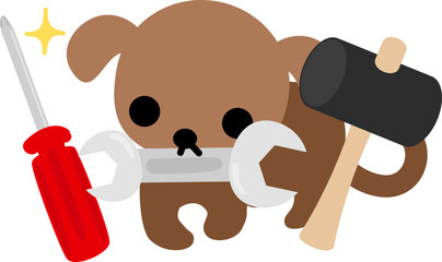 The cute dog and tools