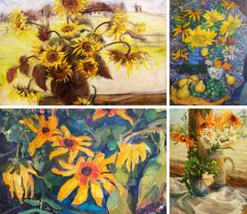 drawing oil, flowers, Wildflowers, Sunflowers, 4 in1