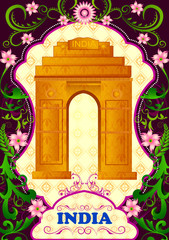 Floral background with India Gate