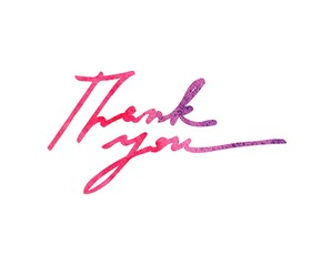 """Thank you!"" original handwritten calligraphy in watercolor for your design, logo, website or advertisement"