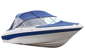 Blue motor boat.