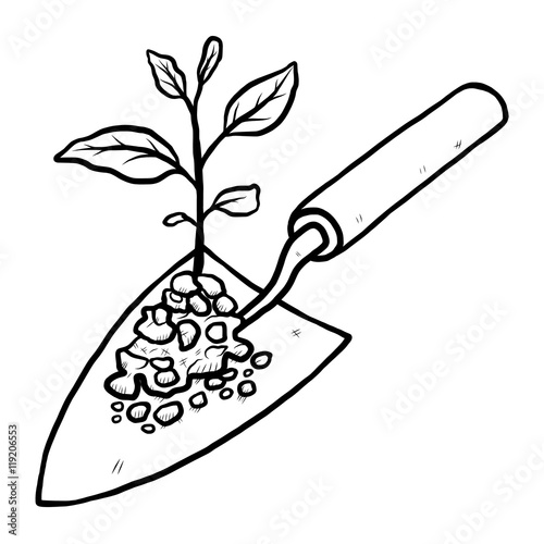 Masonry Trowel Black And White : Quot plant sprout and trowel cartoon vector illustration