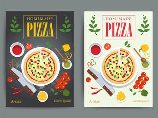 Set of bright pizzeria advertisement posters design. Vector