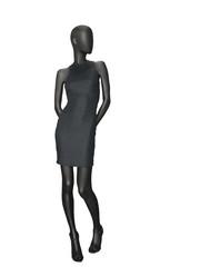 Female mannequin dressed in black dress.