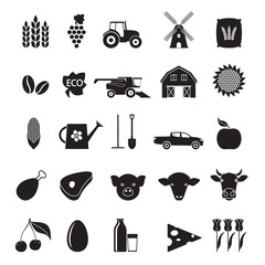 Agriculture and farming icon set. Black gardening symbols isolated on white background. Vector illustration.